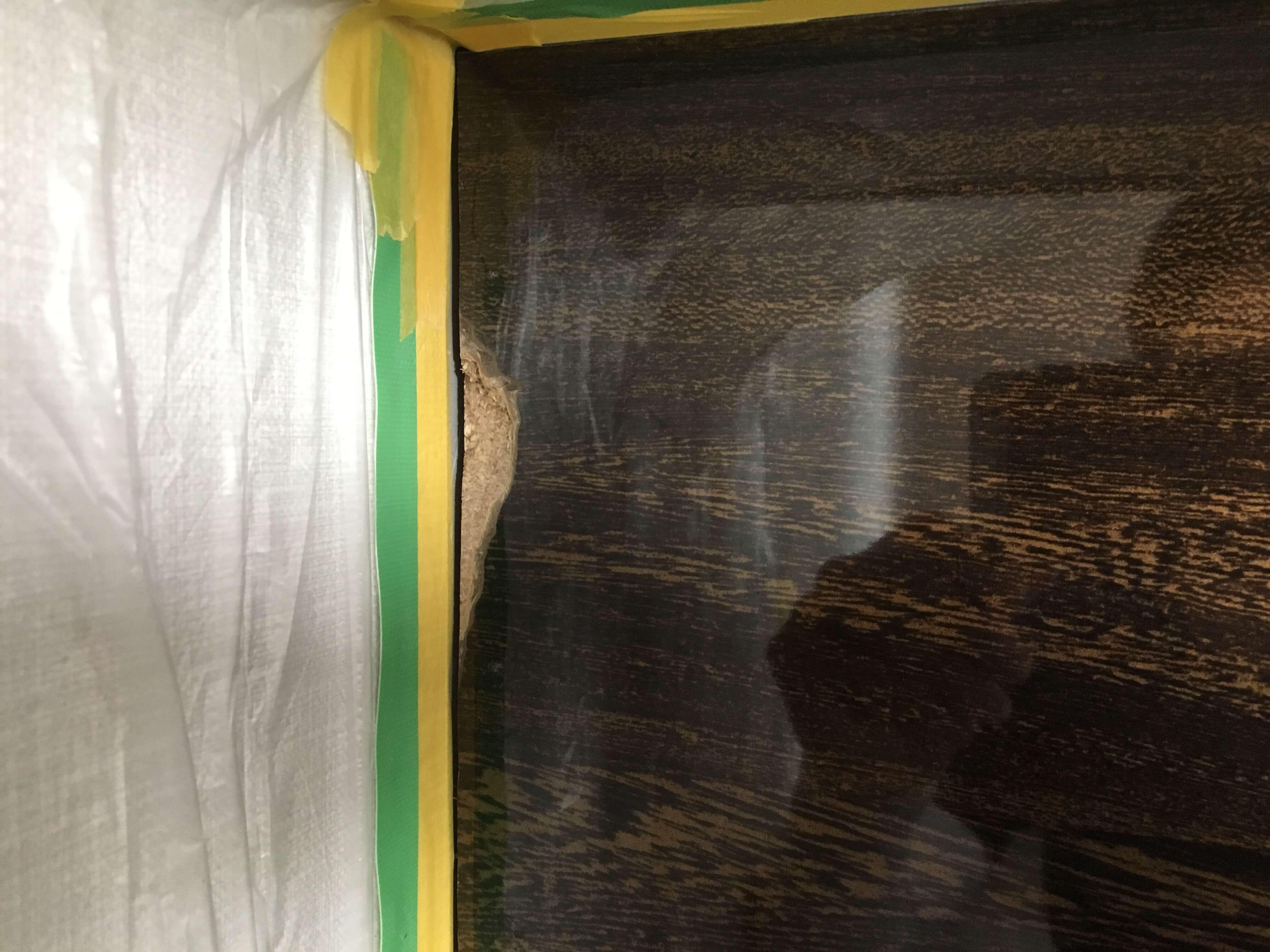 鏡面キッチンパネル割れ補修